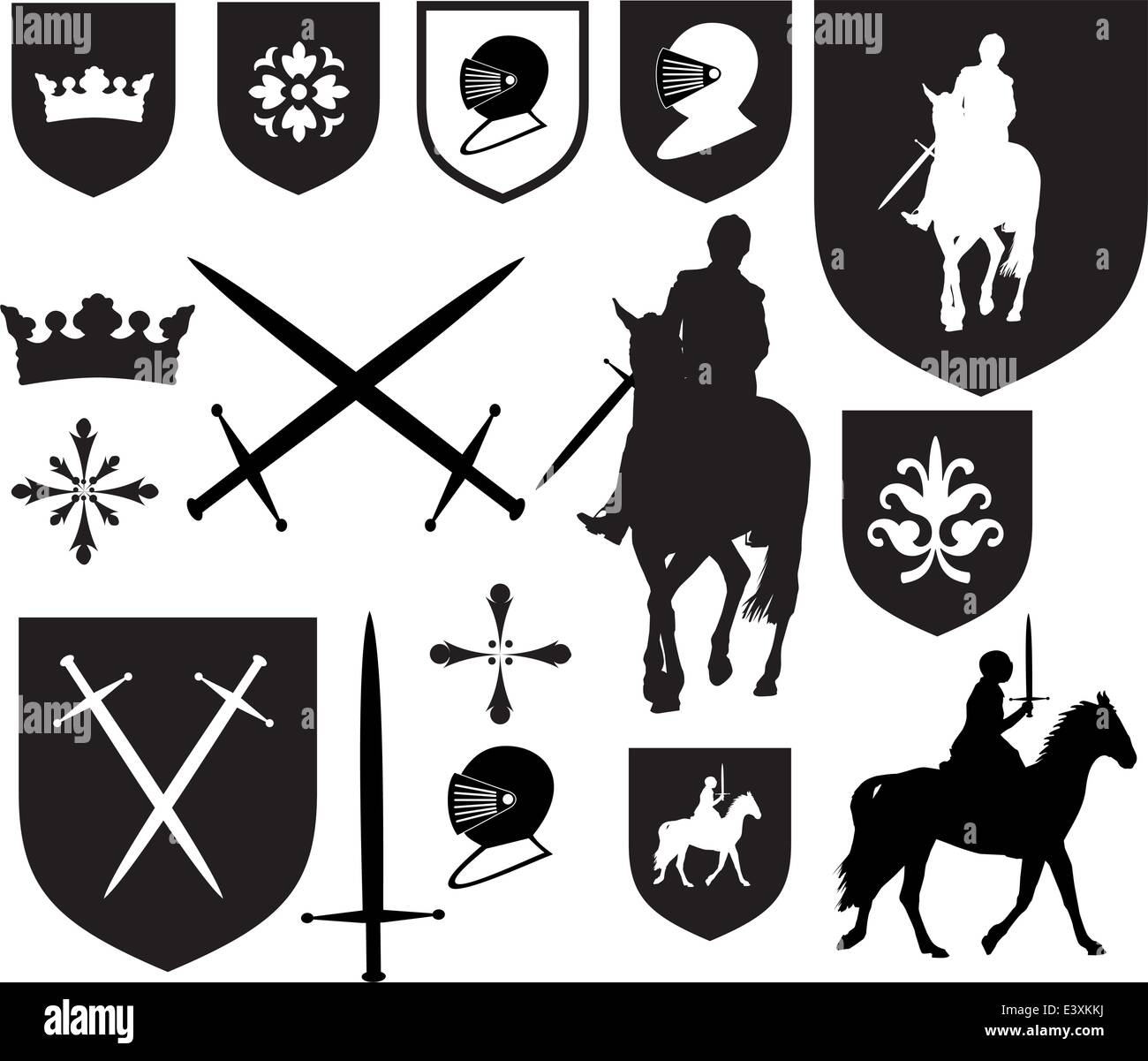 Set of old style medieval icons and symbols stock vector art set of old style medieval icons and symbols biocorpaavc
