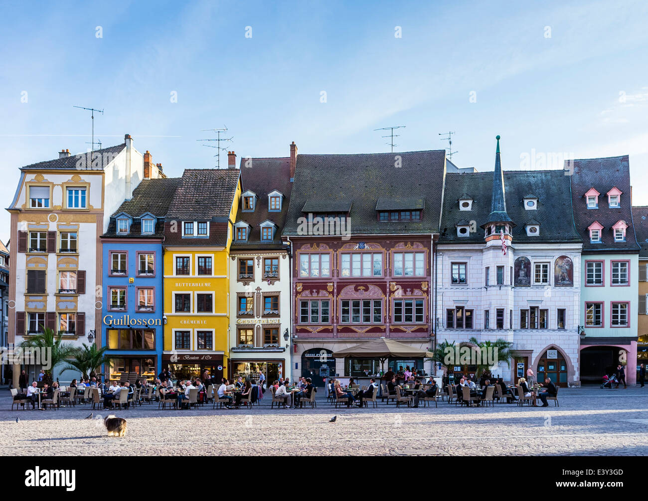 cafe terrace and ancient houses place de la reunion square mulhouse stock photo royalty free. Black Bedroom Furniture Sets. Home Design Ideas