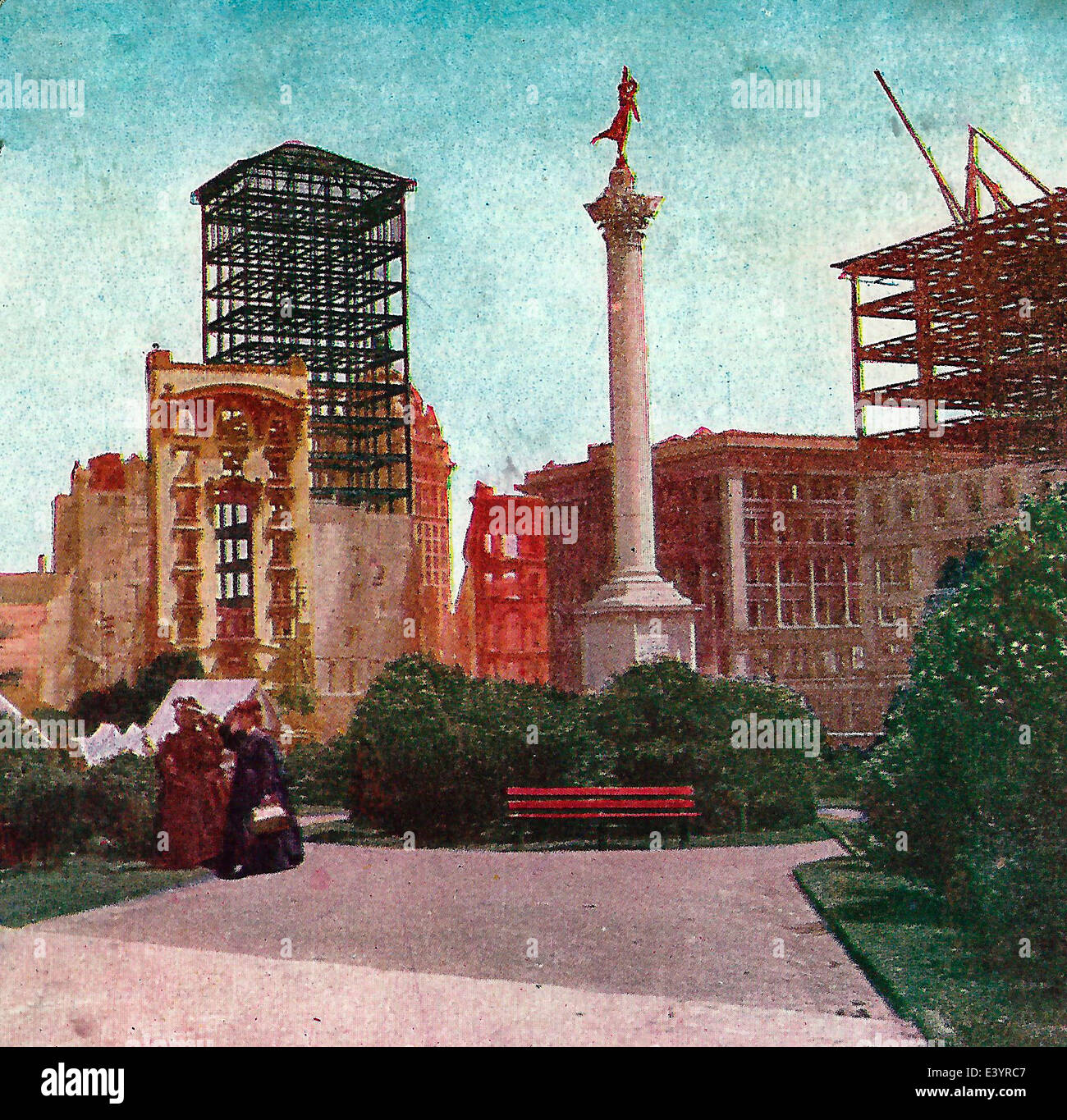 union square san francisco showing dewey monument the call and dana buildings after the earthquake and fire of april 1906