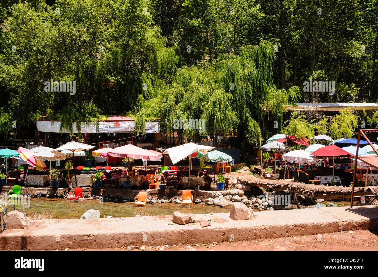 Tables Chairs And Parasols Of A Riverside Restaurant On The - River atlas