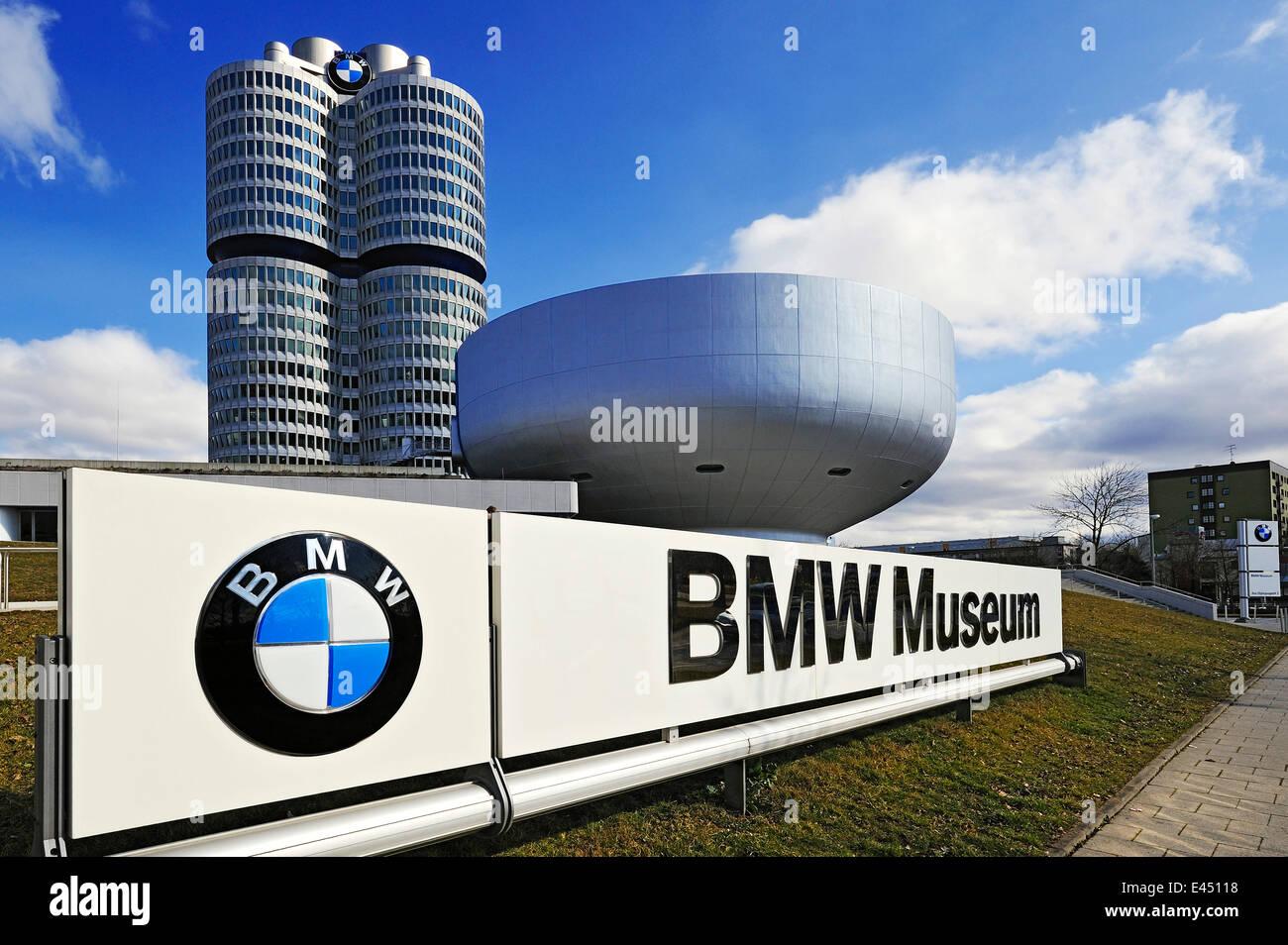 Display with BMW logo and BMW towers BMW Museum Munich