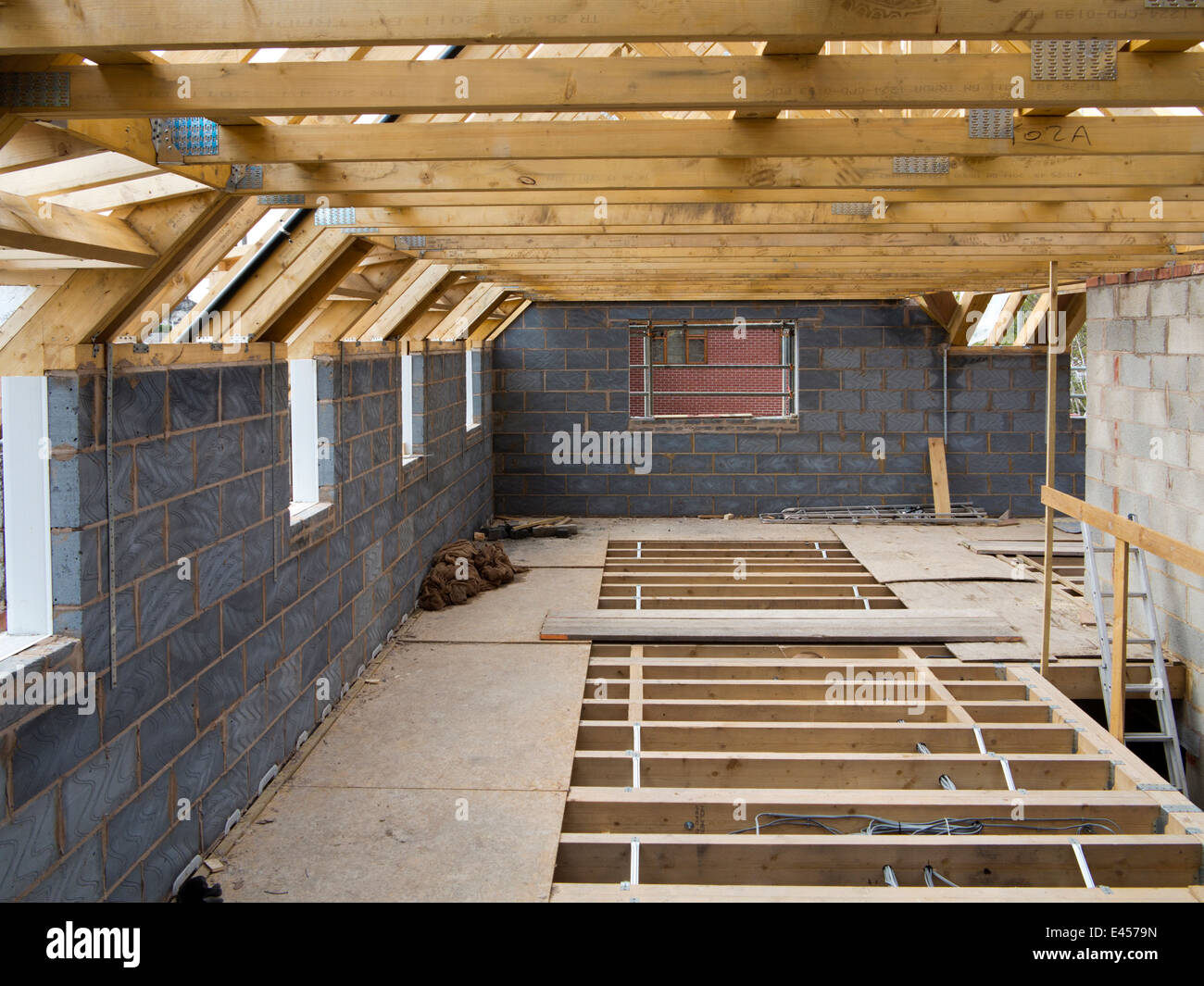 Self building house upper floor with traditional wooden for Wood floor joist construction