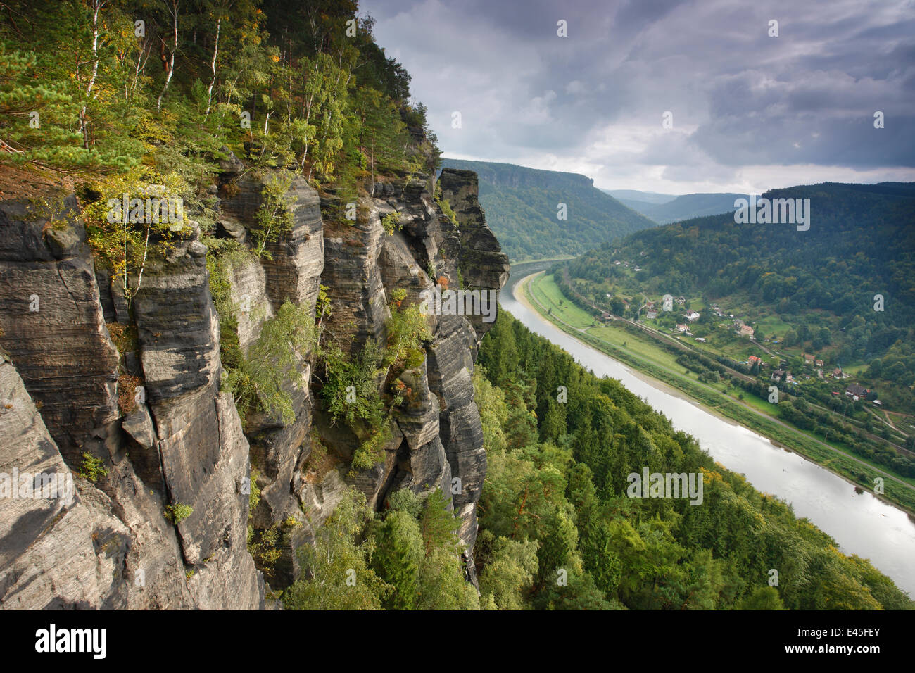 Rock Face In Forest With Elbe River Elbe Landscape Protected Area - Elbe river