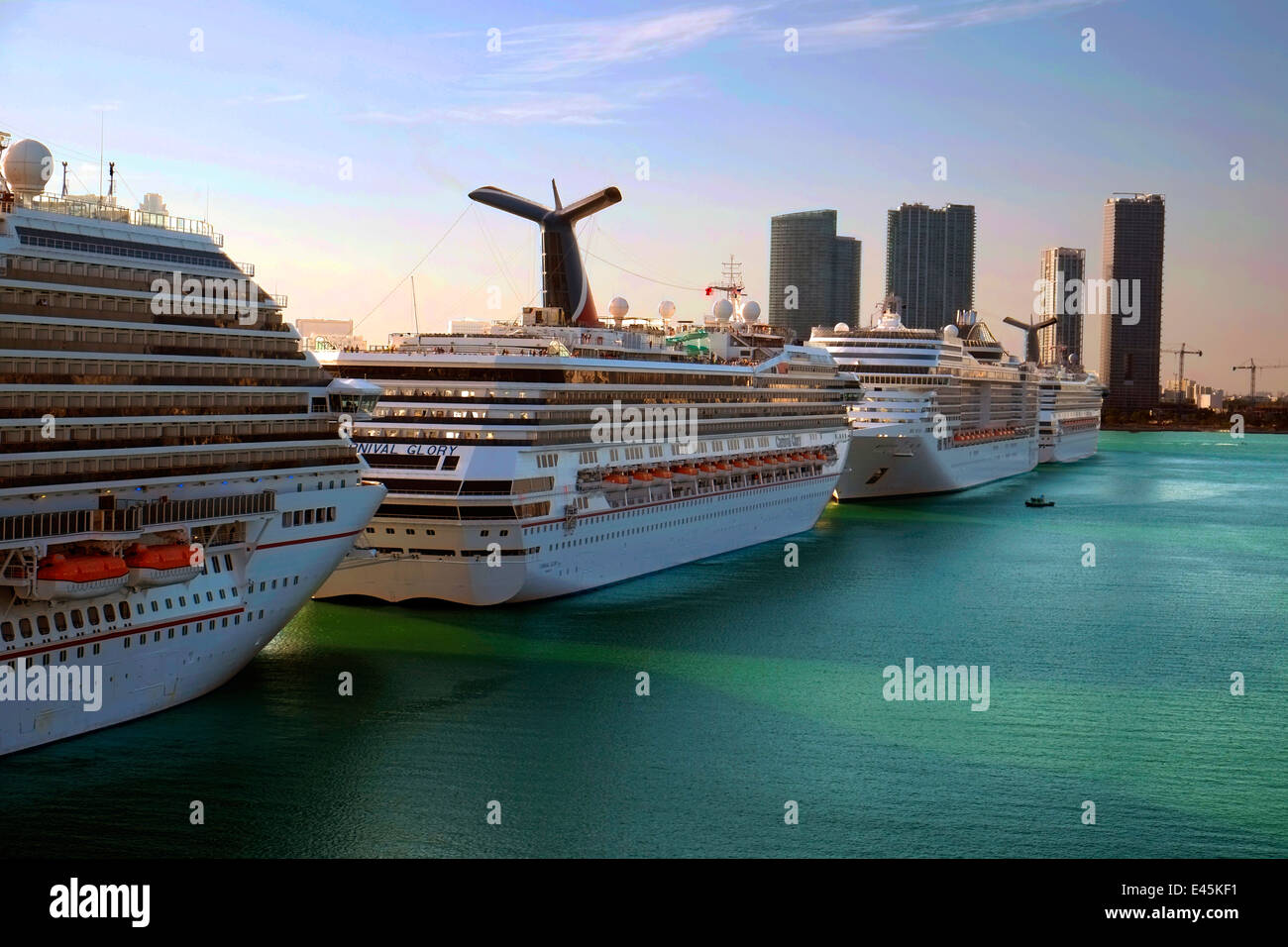 Carnival Glory Port Of Miami Cruise Ship Docks Florida FL US Stock - Cruise ship port in miami