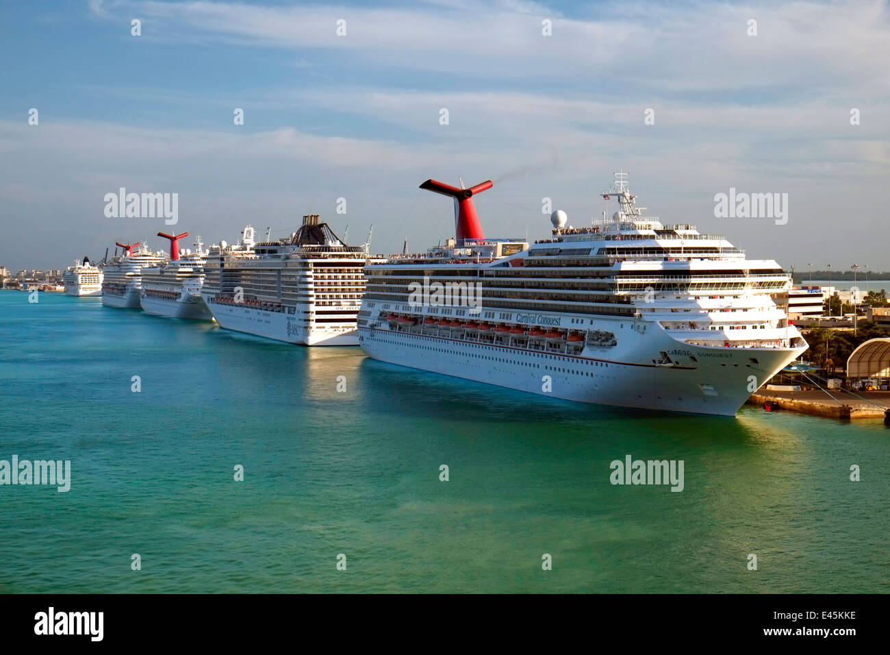 Carnival Conquest MSC Divina Port Of Miami Cruise Ship Docks Florida Stock Ph