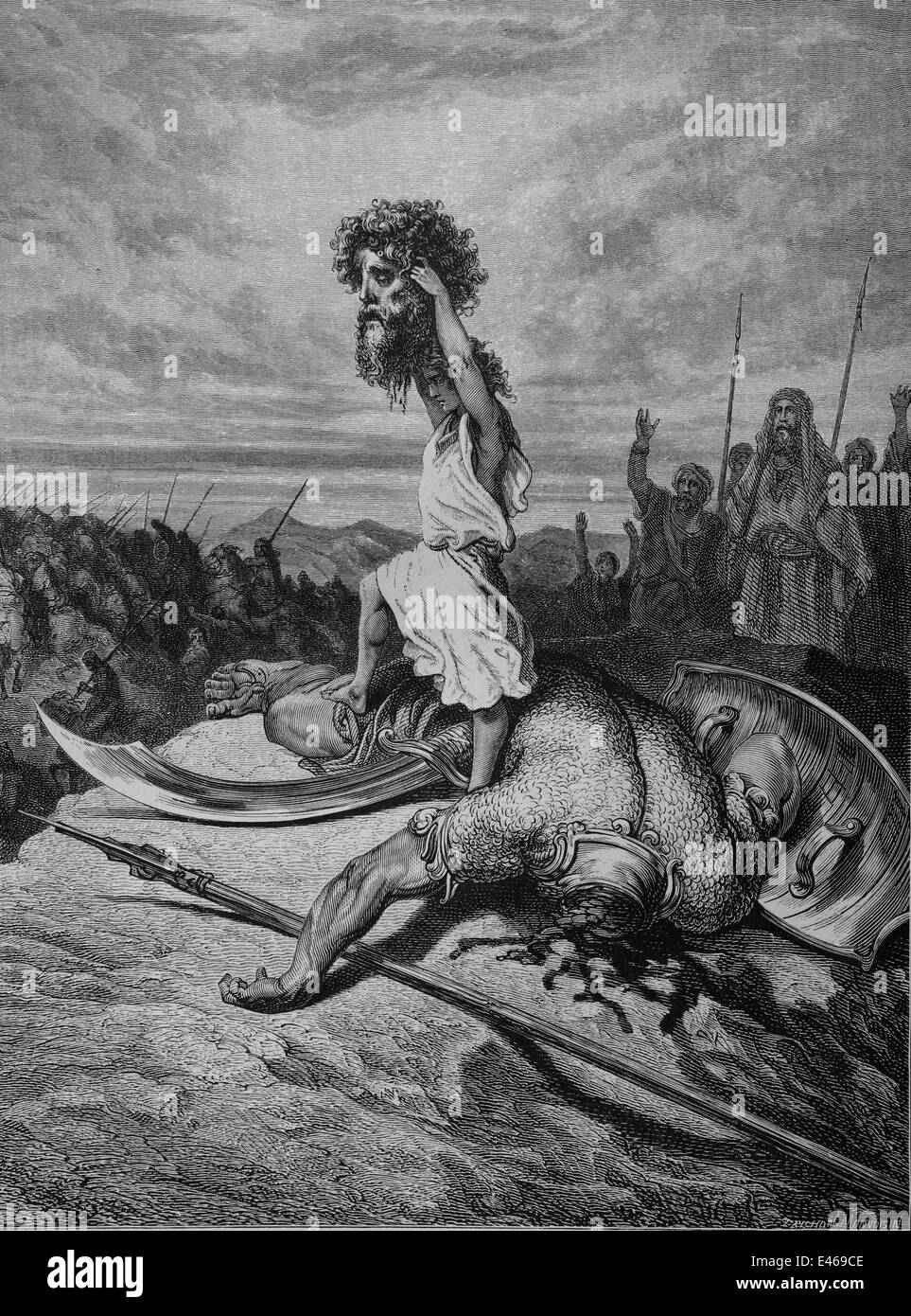 bible david and goliath i samuel 17 49 51 engraving by