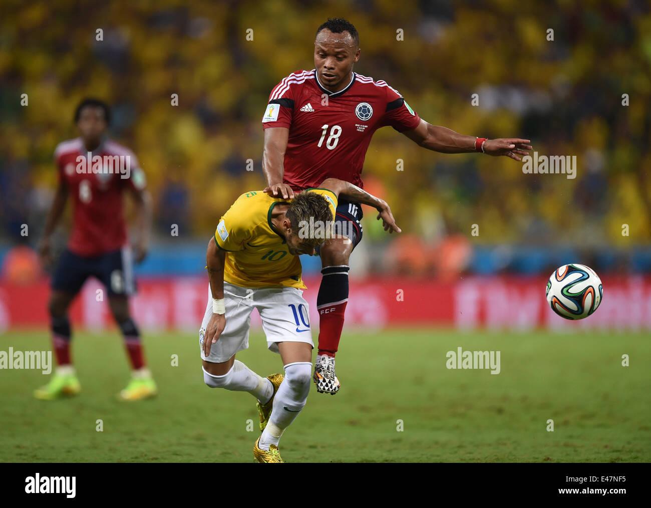 Fortaleza Brazil 04th July 2014 Neymar C of Brazil and Juan