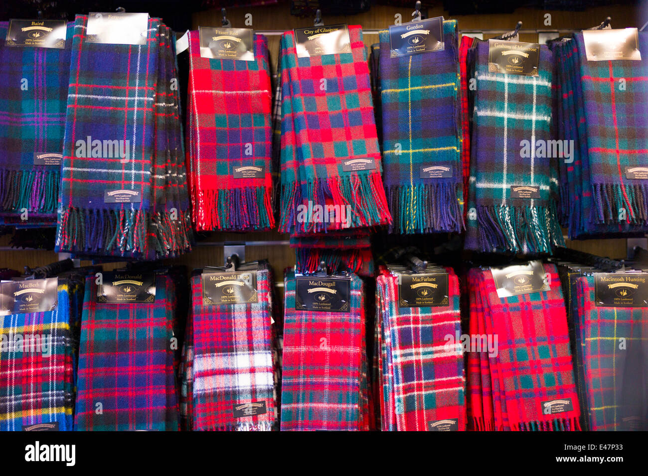 Traditional Scottish clan tartan scarves display for sale in James ...