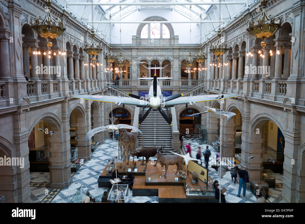 Exhibition Displays Glasgow : Visitors at kelvingrove art gallery and museum with