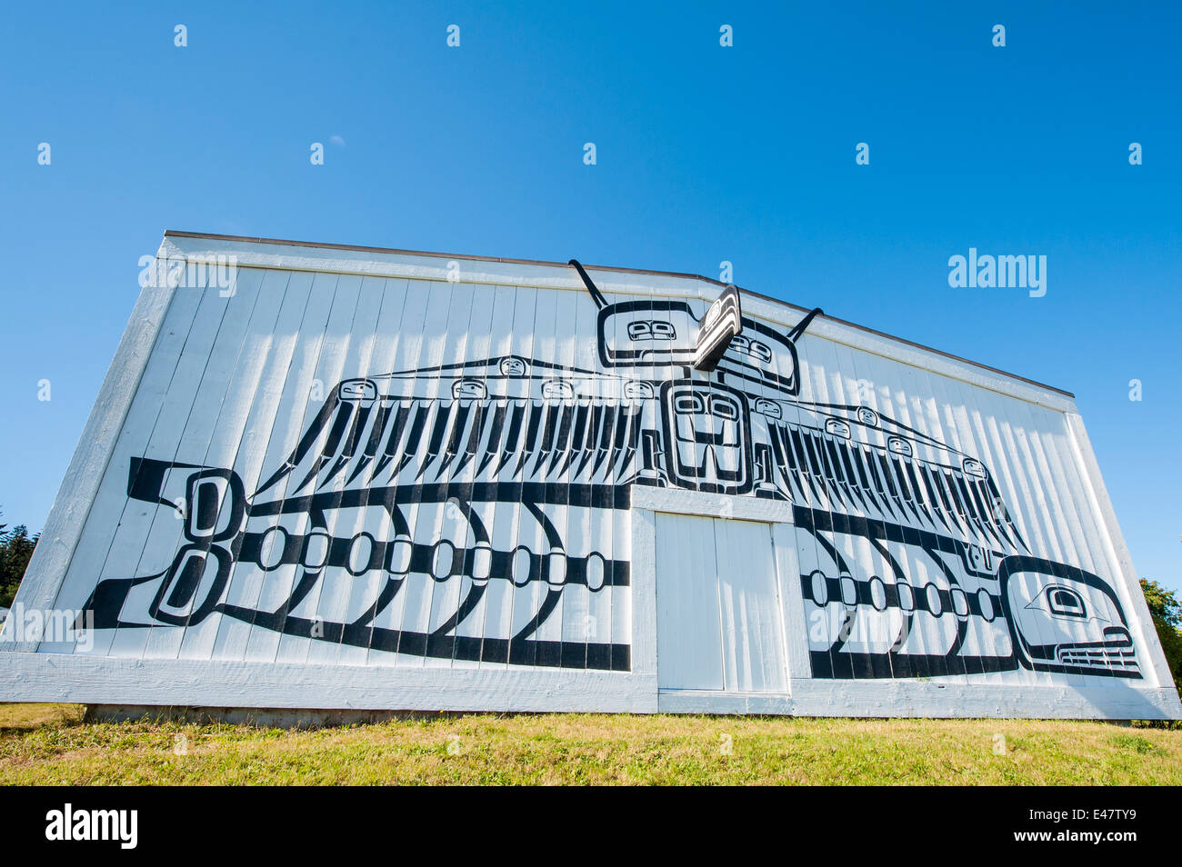 first nation haida native wall mural art artwork on exterior of first nation haida native wall mural art artwork on exterior of u mista cultural centre alert bay british columbia canada
