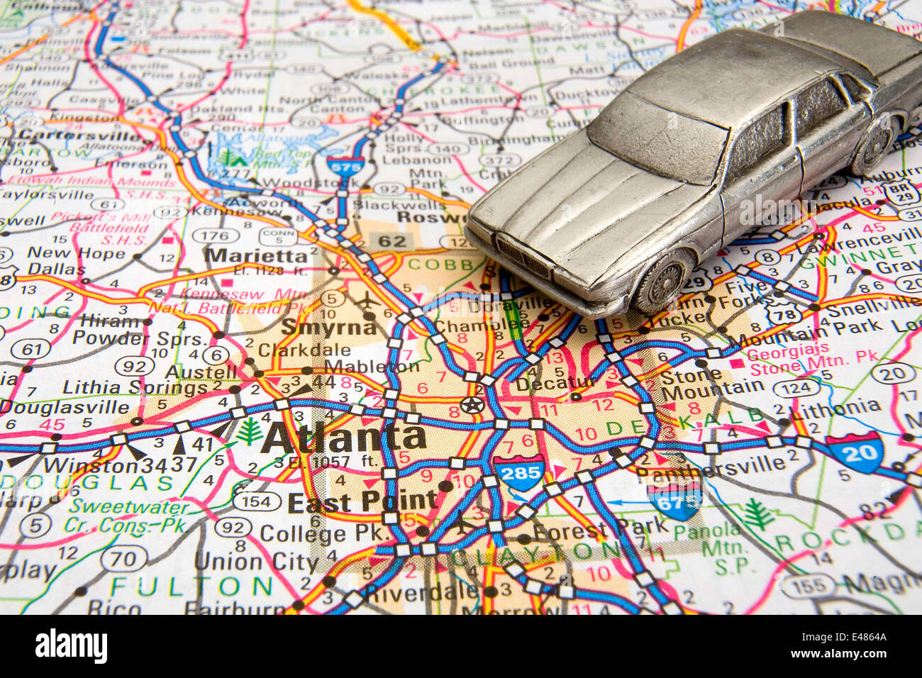 Model Sedan On A Road Map Of Atlanta Georgia Stock Photo Royalty - Road map georgia