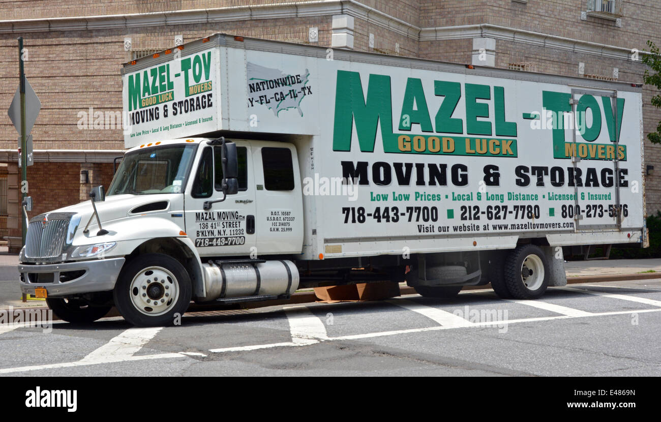 A truck from the Mazel Tov moving & Storage business in