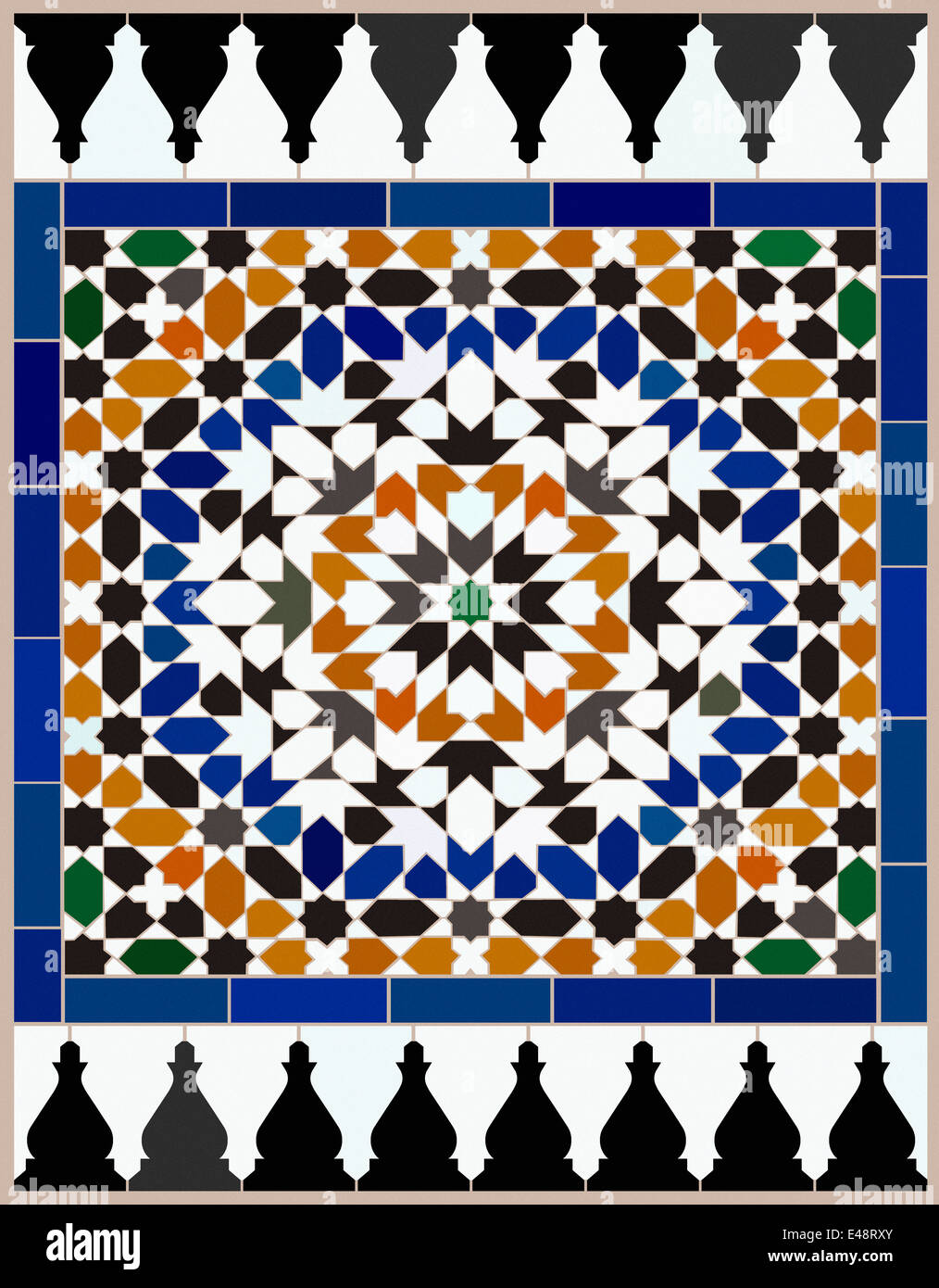 area made mosaic tiles based on a moroccan design with complex