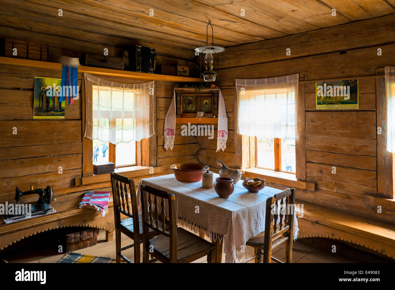 russian interior poor hut in the middle ages stock photo royalty