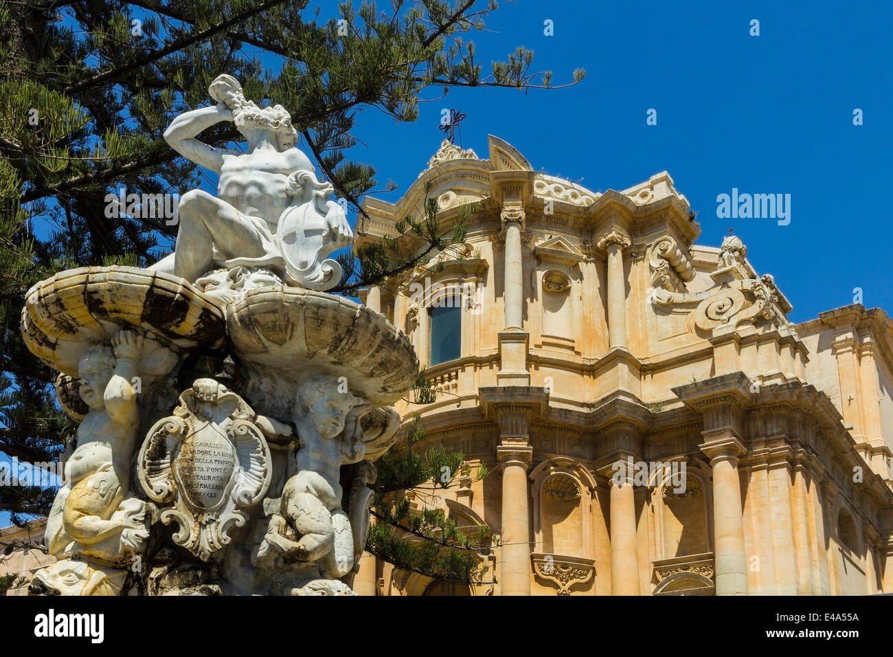 hercules fountain and san domenico church in noto, famed for its