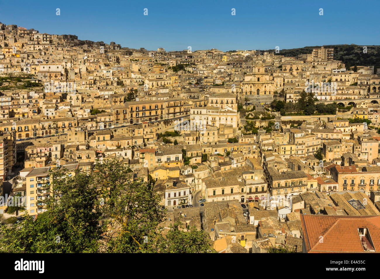 buildings in steep gorge at modica, a town famed for sicilian