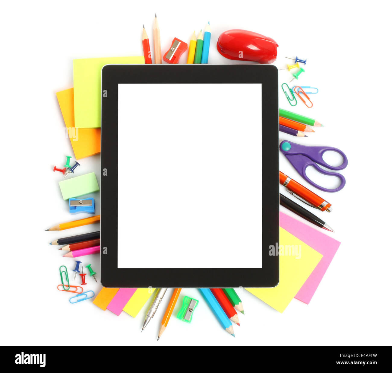 Tablet PC with school office supplies on white background Stock ...