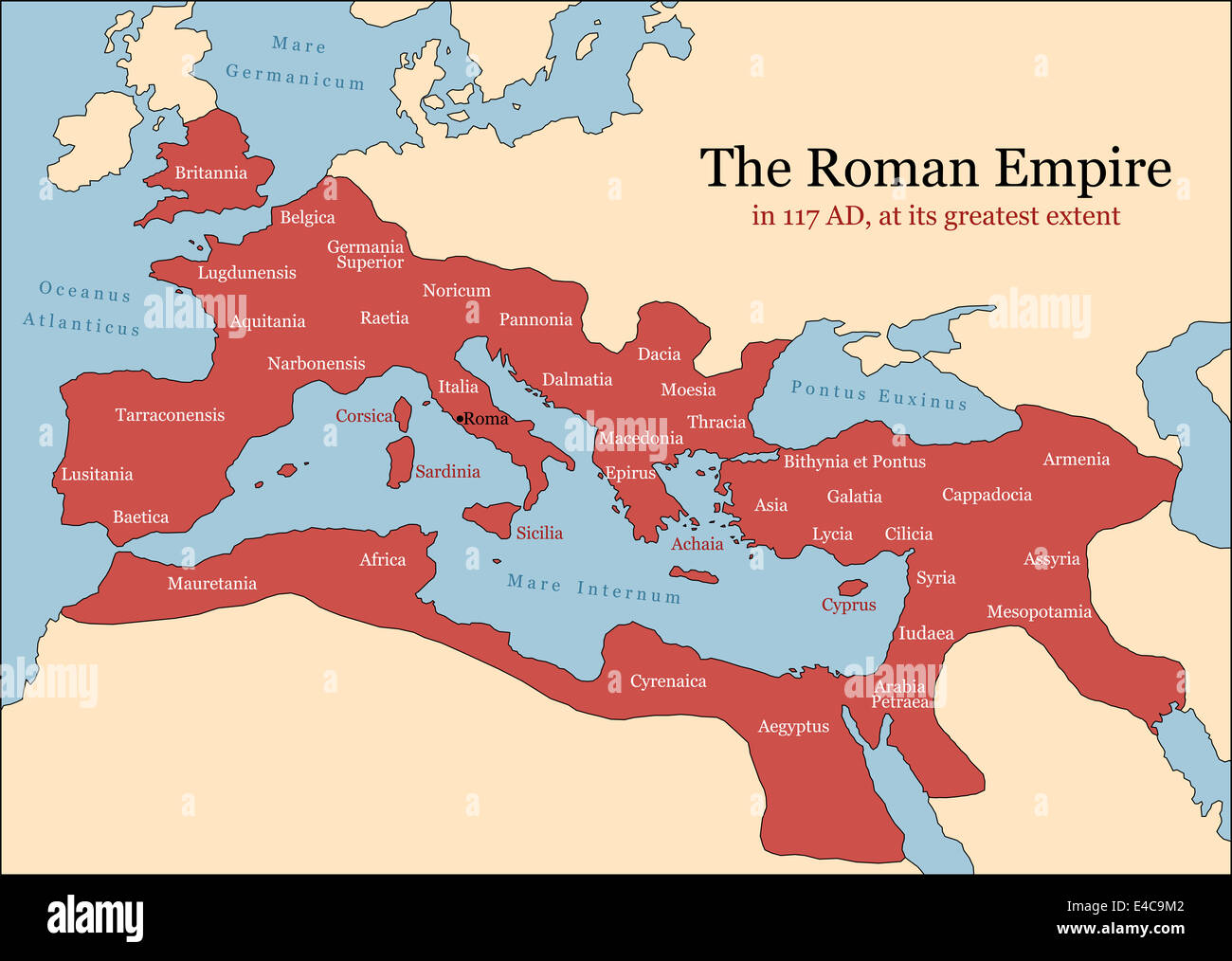 The Roman Empire At Its Greatest Extent In AD At The Time Of - Map of rome under trajan