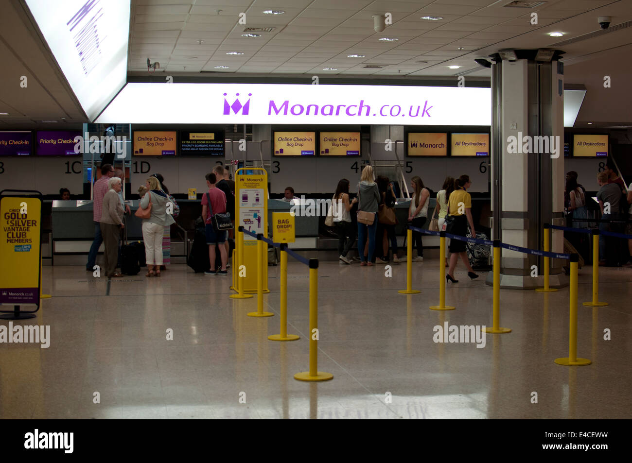 Monarch Check In Desks Birmingham Airport Uk Stock Photo