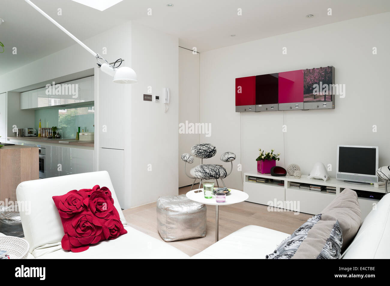 Open Plan Kitchen Living Room Red Sofa In Modern Open Plan Living Room And Kitchen Extension