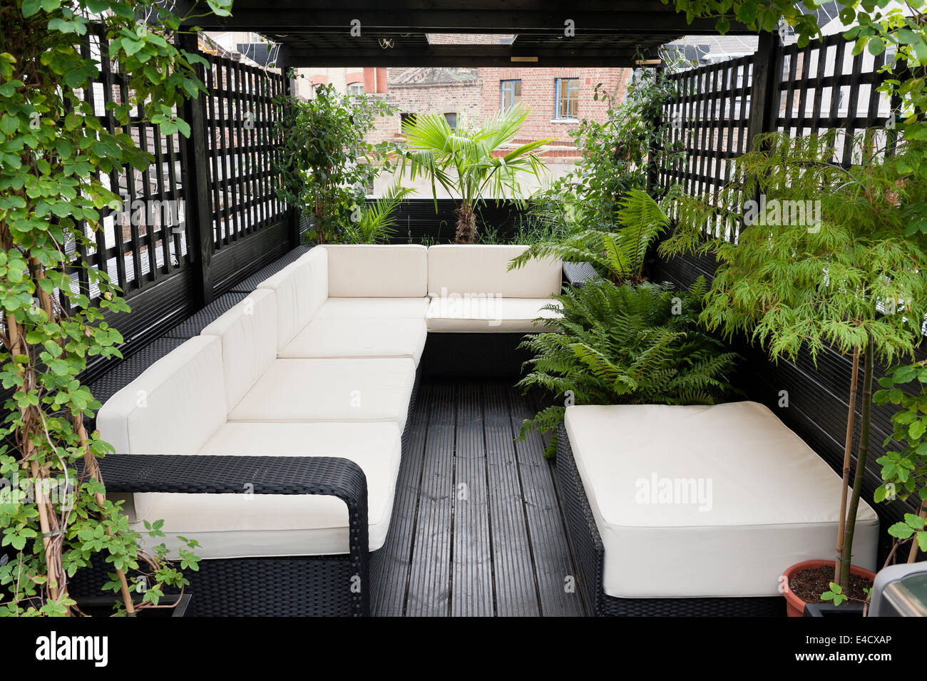 Rattan Furniture On Roof Terrace With Trellis