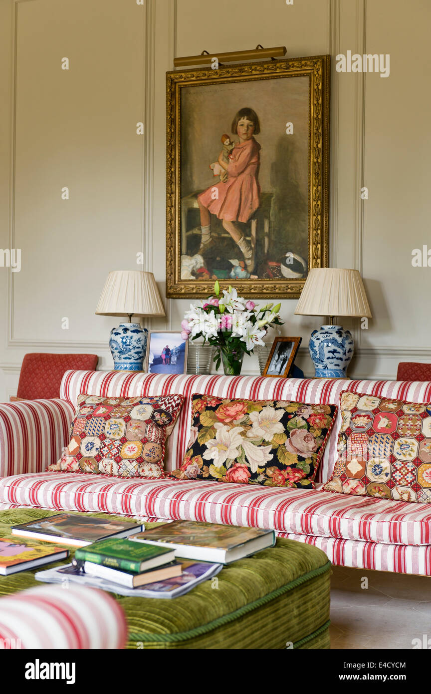 Striped Sofa Commission By Interior Designer Caroline Palk. The Tapestry  Cushions And Chinoiserie Lamps Are