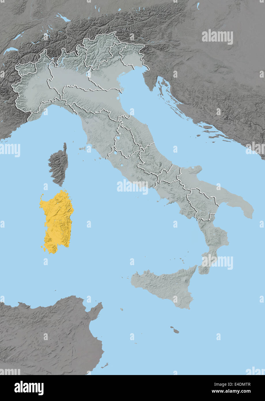 Region of Sardinia Italy Relief Map Stock Photo Royalty Free