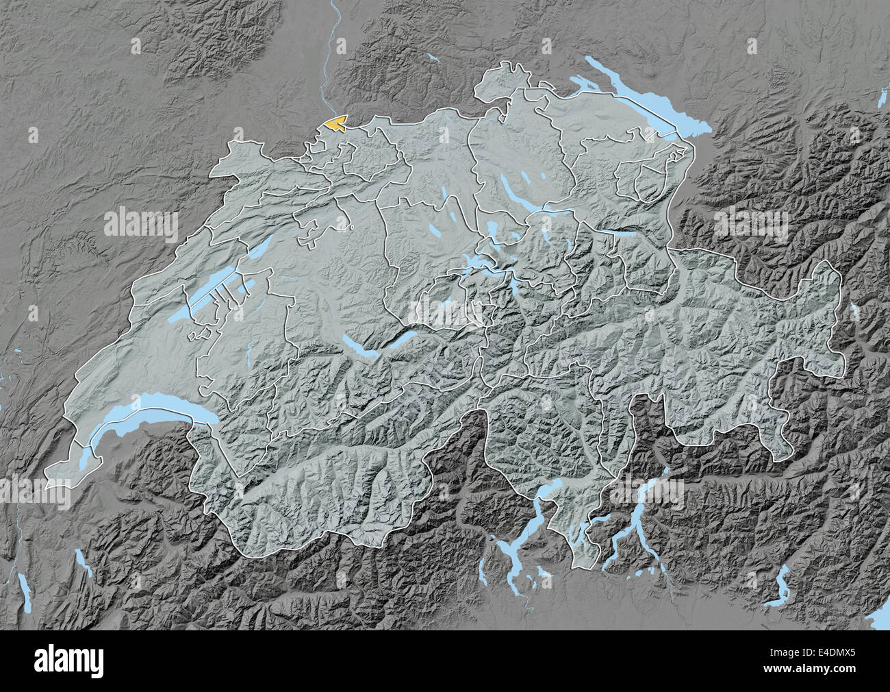 Canton of Basel City Switzerland Relief Map Stock Photo 71601885