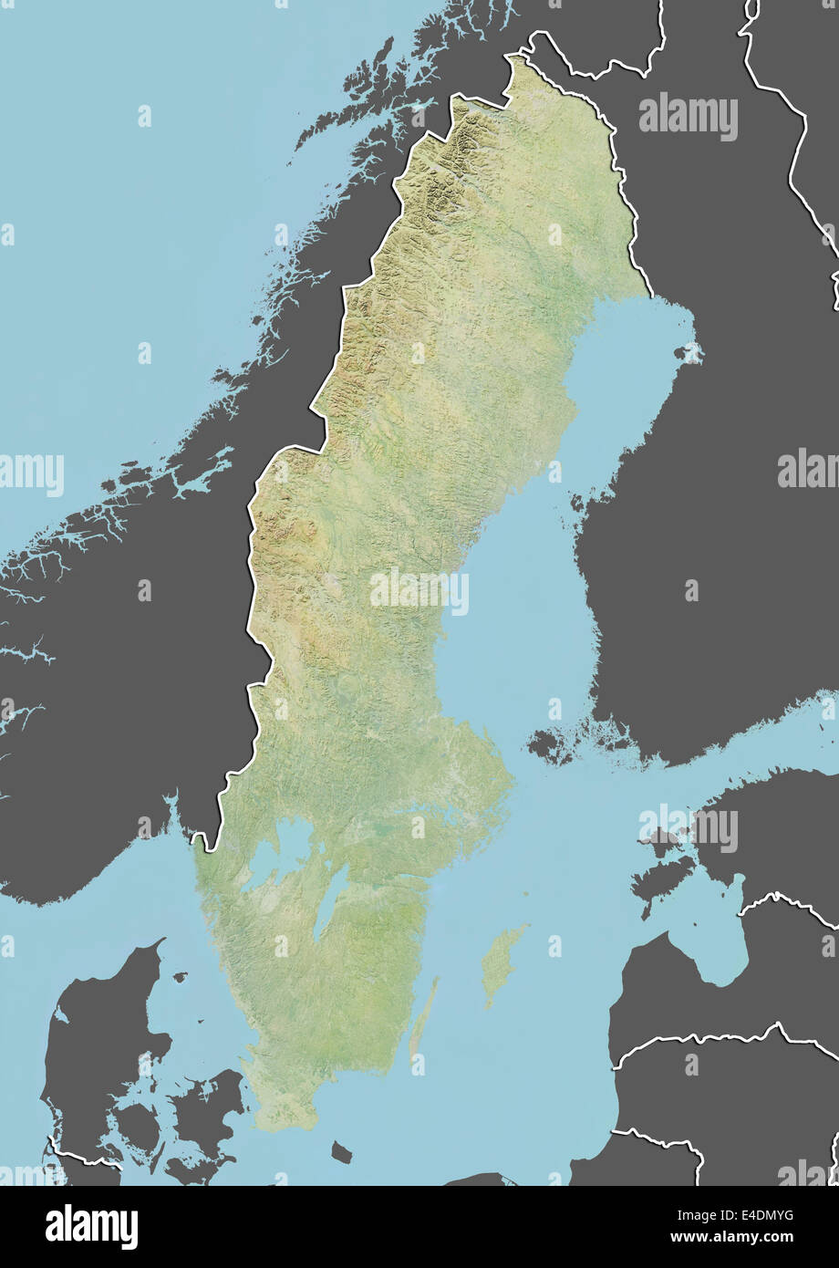 Sweden Relief Map With Border And Mask Stock Photo Royalty Free - Sweden relief map
