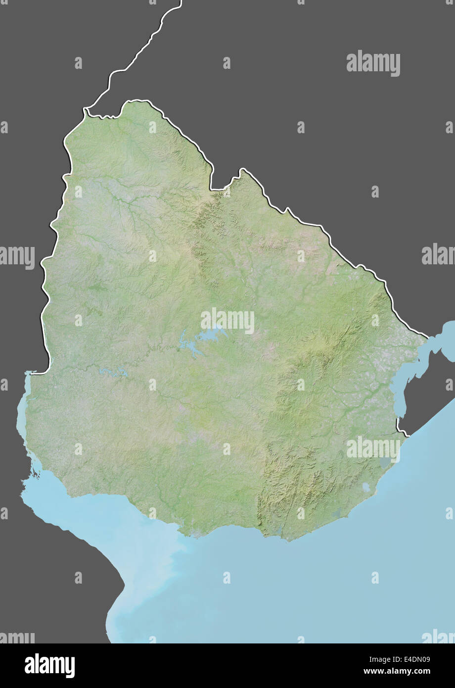 Uruguay Relief Map With Border And Mask Stock Photo Royalty Free - Uruguay relief map