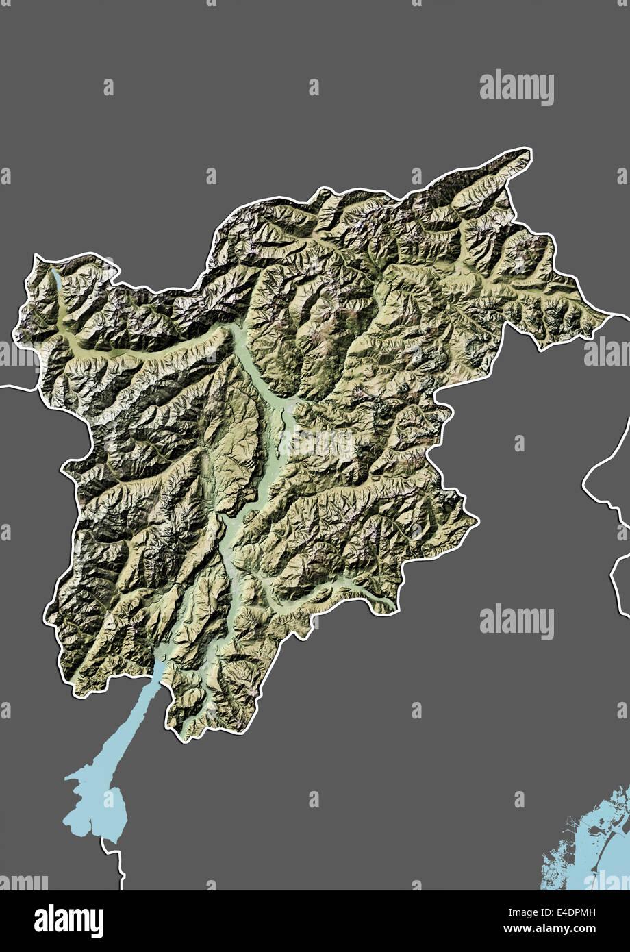 Region of TrentinoAlto Adige Italy Relief Map Stock Photo