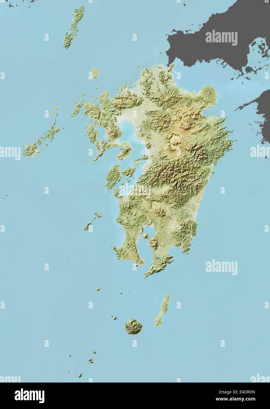 Region Of Kyushu Japan Relief Map Stock Photo Royalty Free - Japan map kyushu