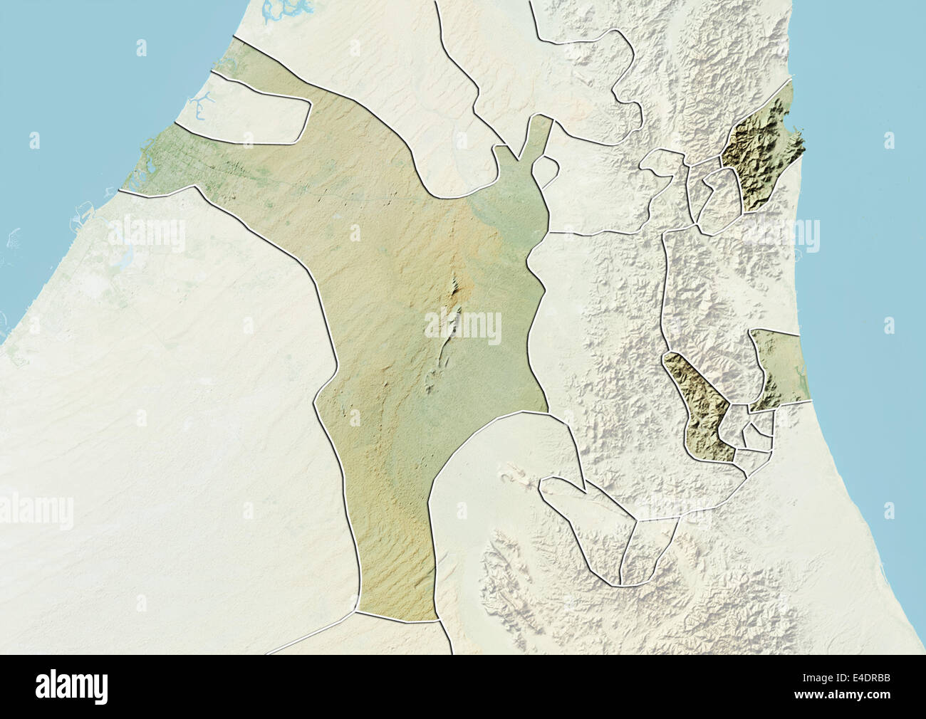 Emirate of Sharjah United Arab Emirates Relief Map Stock Photo