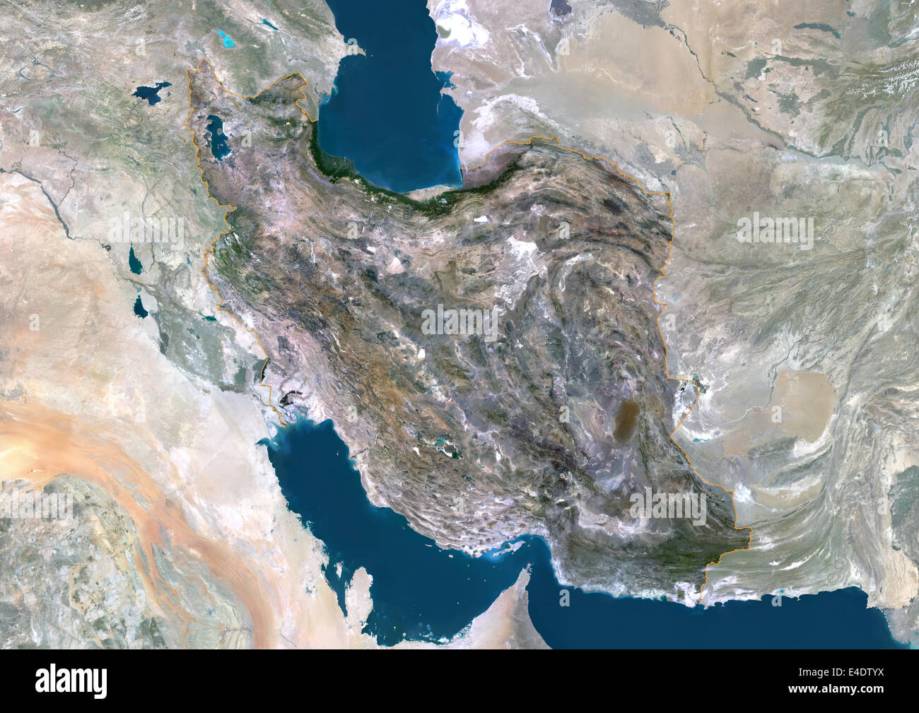Iran Middle East Asia True Colour Satellite Image With Border