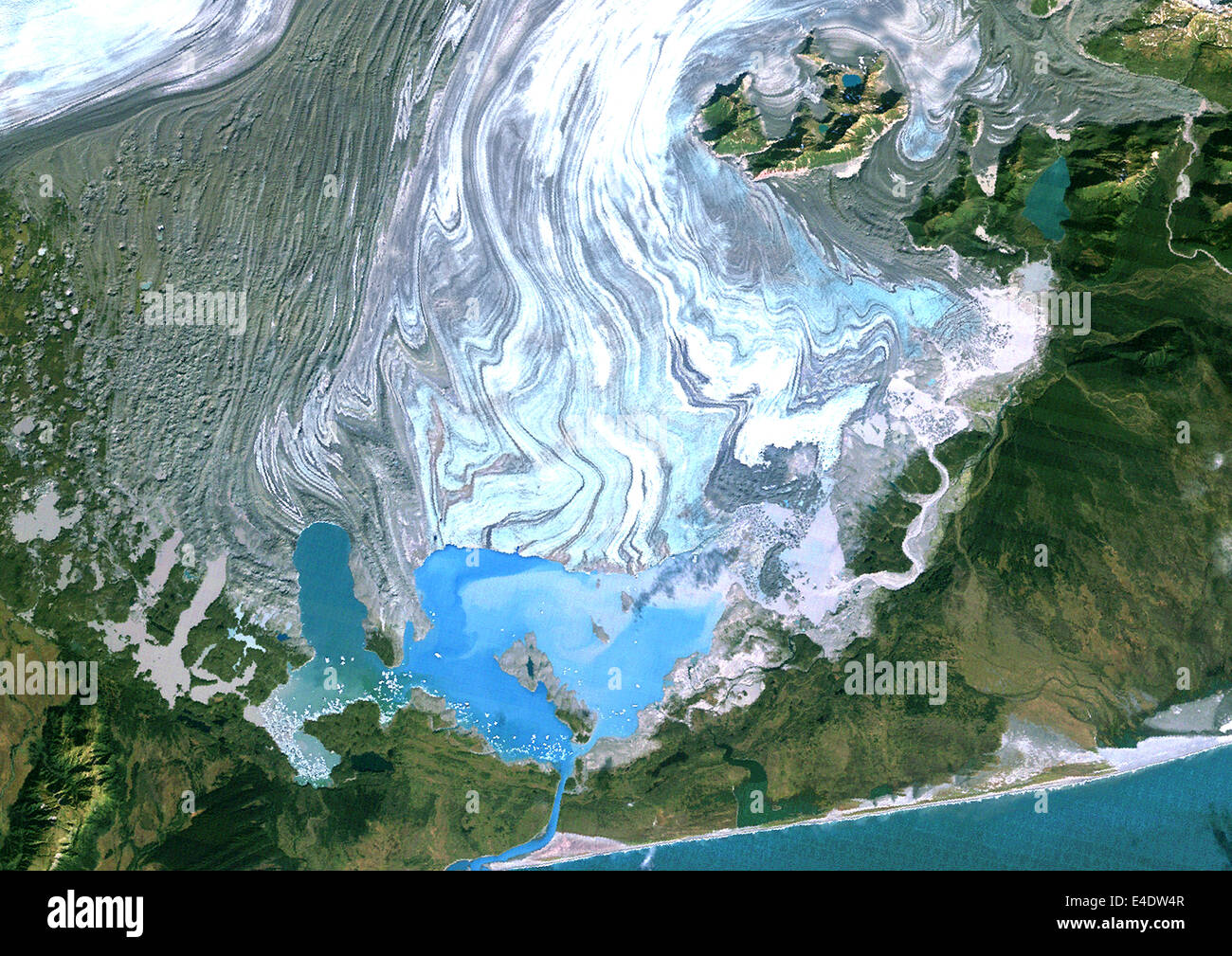 Bering Glacier Alaska Usa True Colour Satellite Image - Alaska usa map