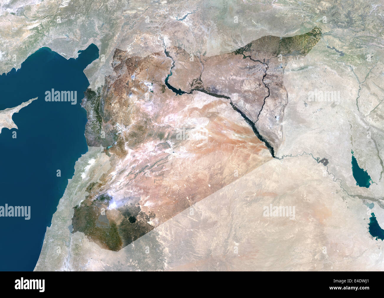 Syria Middle East Asia True Colour Satellite Image With Mask - Middle east satellite map