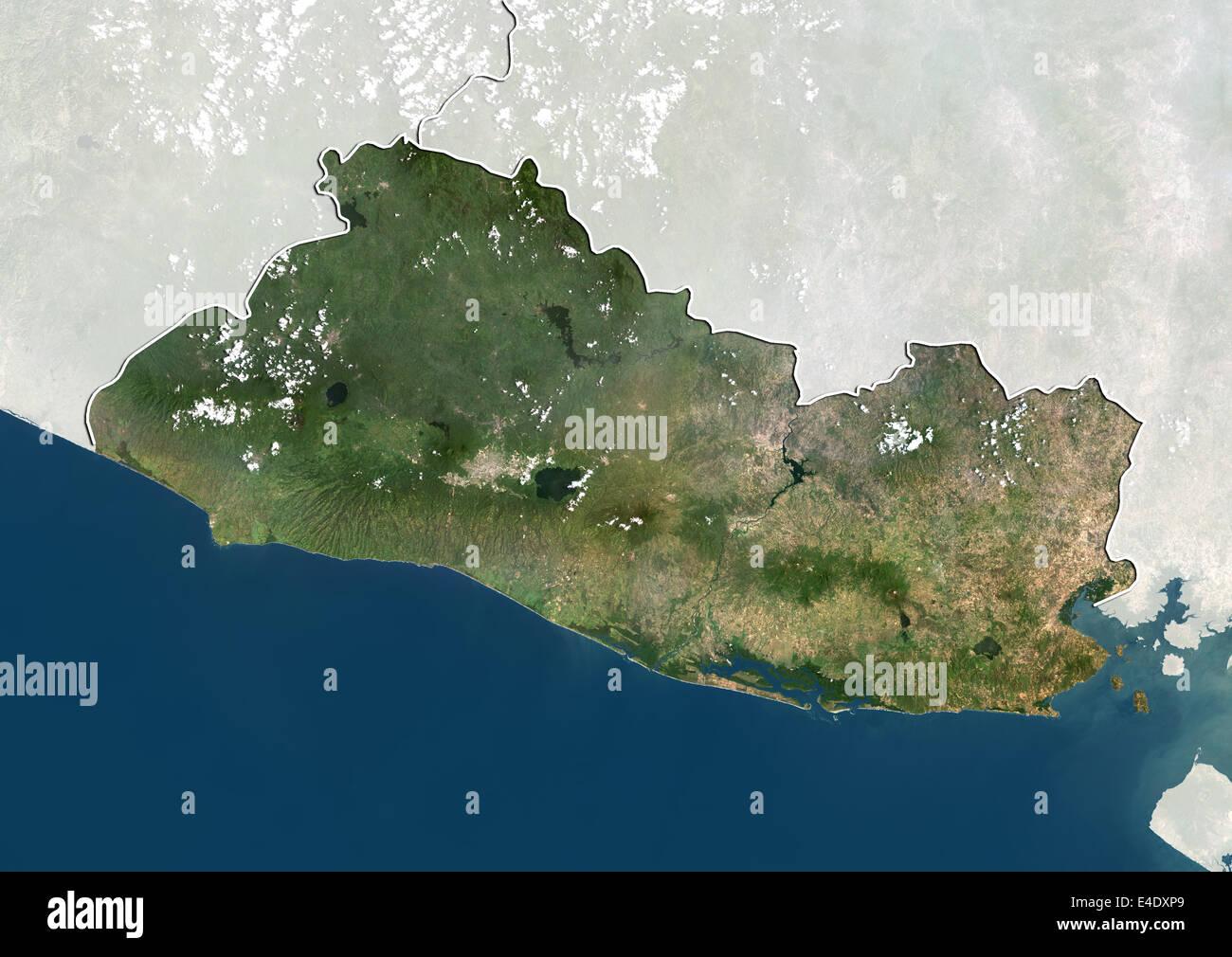 El Salvador True Colour Satellite Image With Border And Mask - Satellite image photo of el salvador