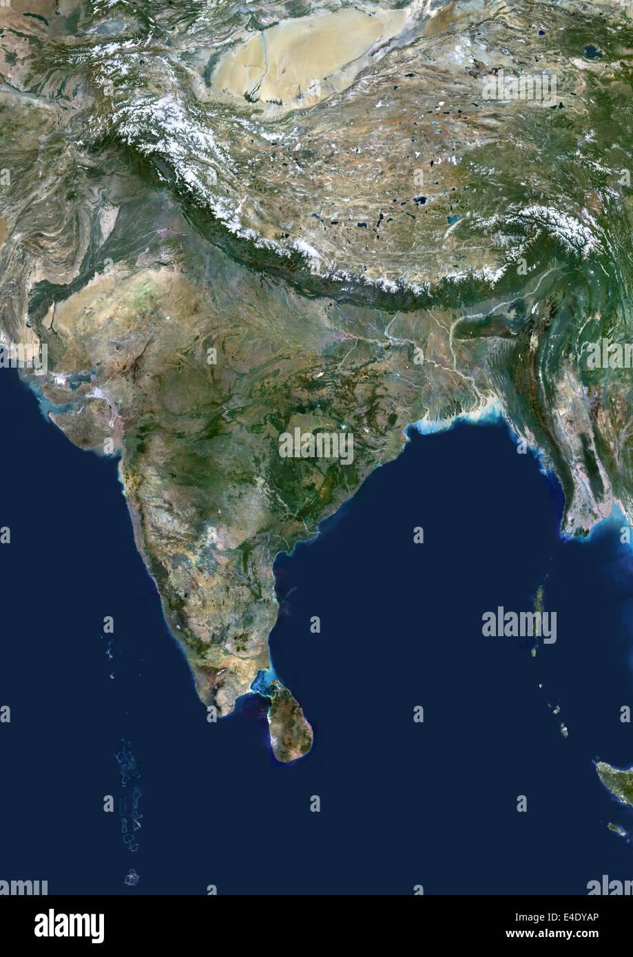India True Colour Satellite Image India True Colour Satellite - World map by satellite of india