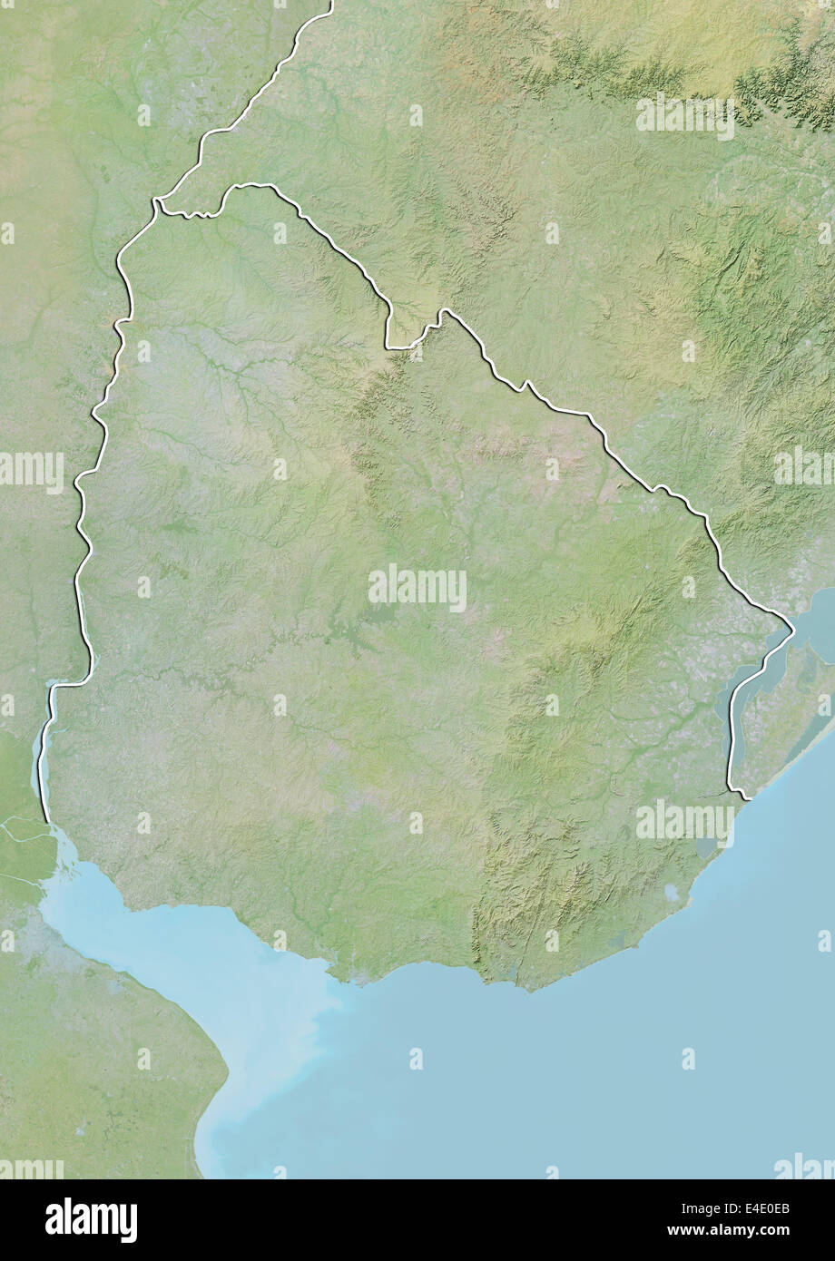 Uruguay Relief Map With Border Stock Photo Royalty Free Image - Uruguay relief map