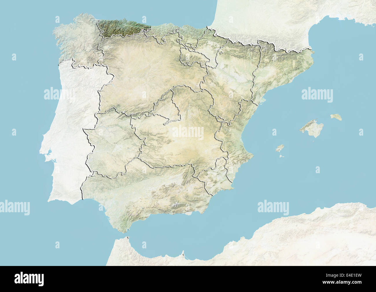 Spain and the Region of Asturias Relief Map Stock Photo 71608625