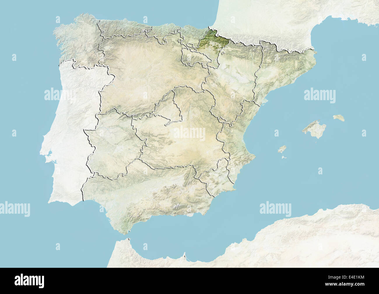 Spain and the Region of Navarre Relief Map Stock Photo 71608760