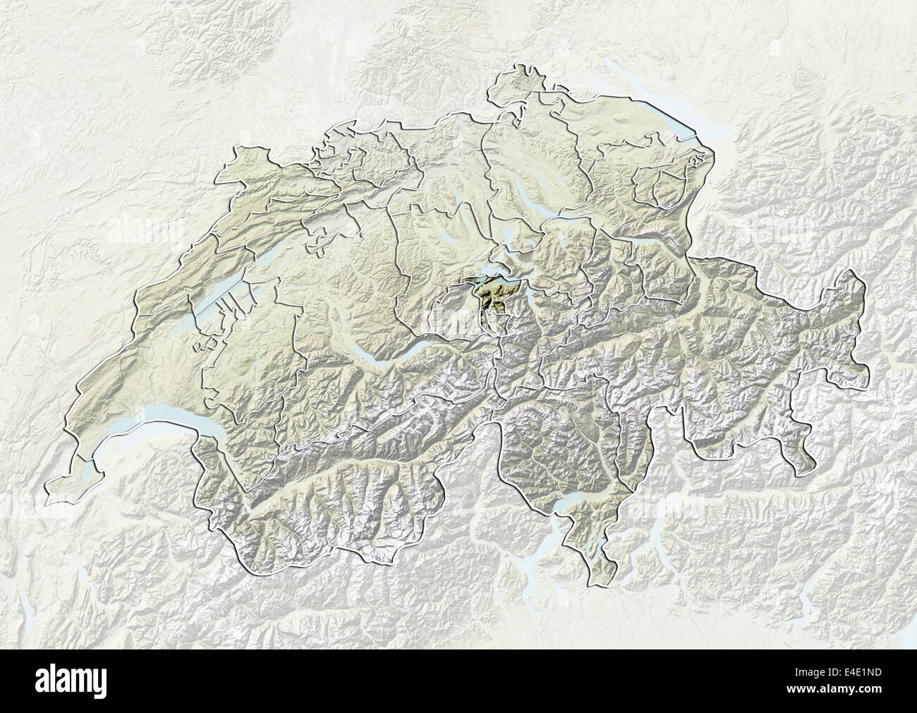 Switzerland and the Canton of Nidwalden Relief Map Stock Photo