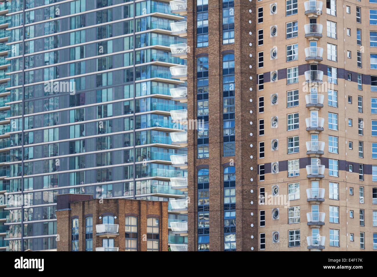 Facade Of Modern Apartment Buildings In London, England