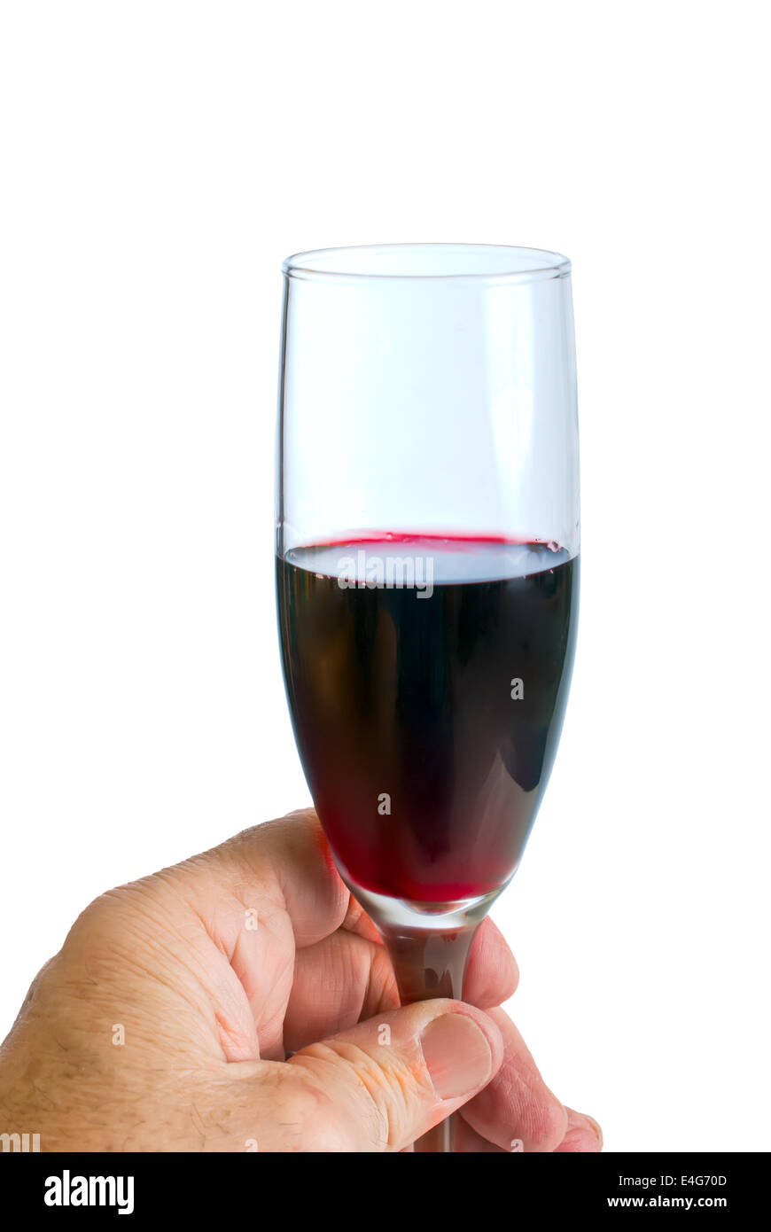 Tasting A Small Glass Of Red Wine Isolated Against A