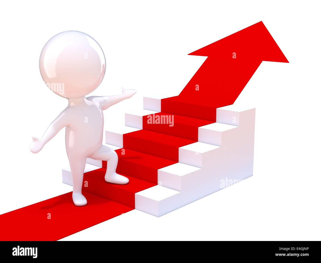3d Render Of A Little Man Climbing Stairs With Red Arrow