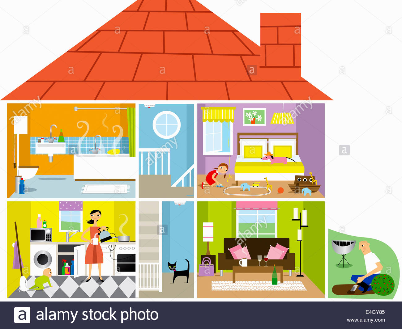 Cross section of family house with potential hazards