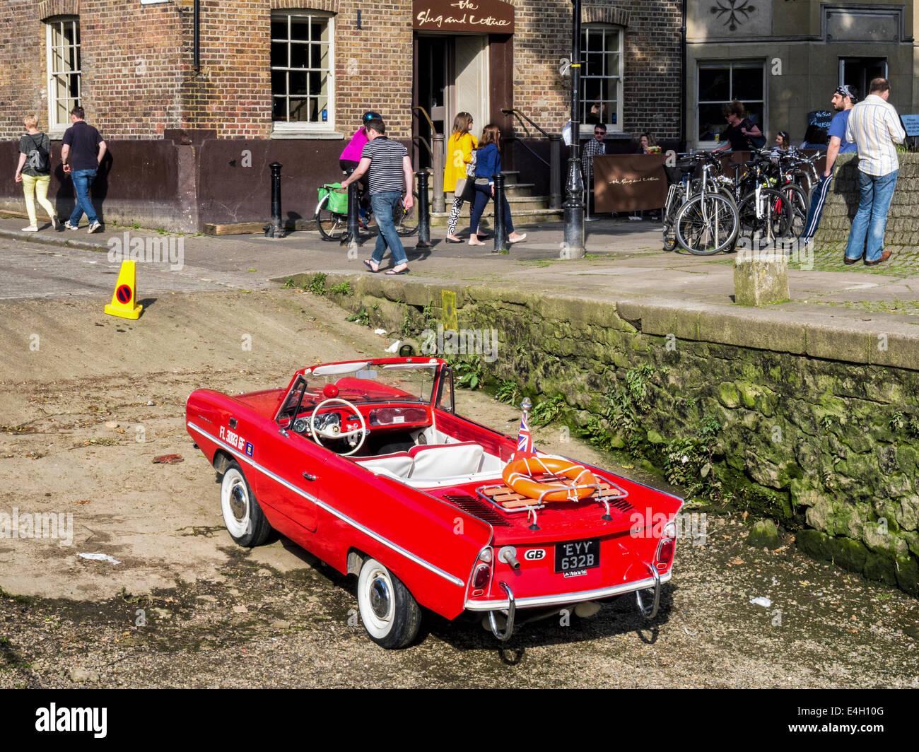 Amphicat for sale amphibious atv pictures - Amphicar Red Amphibious Car German Vehicle Designed By Hans Trippel Parked At Riverside