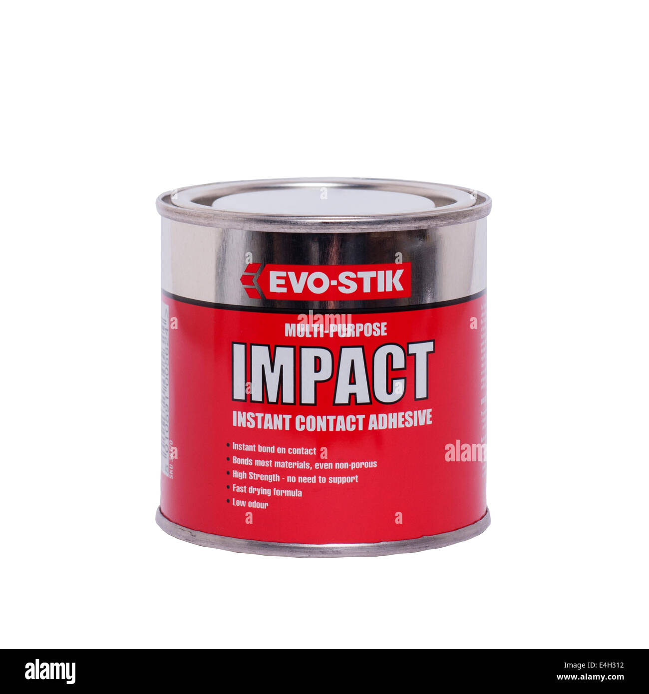 a tin of evo stik multi purpose impact instant contact adhesive a tin of evo stik multi purpose impact instant contact adhesive glue on a white background