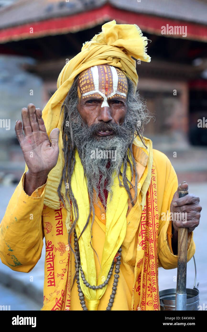 Nepal, Kathmandu, Durbar Square, Portrait of a Sadhu Hindu ...