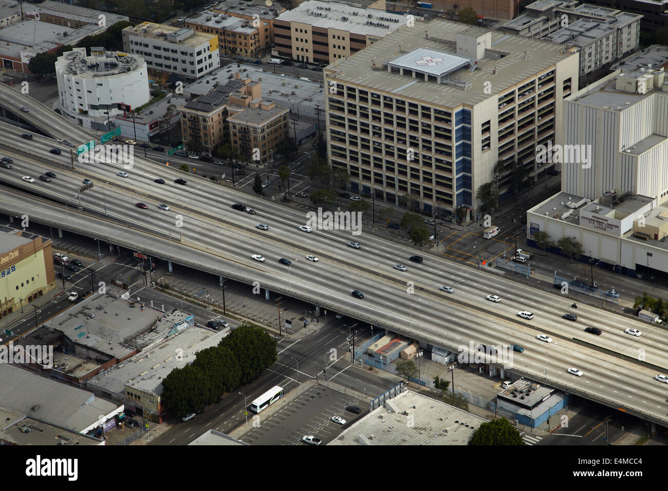 Santa monica freeeway interstate 10 i 10 near downtown los santa monica freeeway interstate 10 i 10 near downtown los angeles california usa aerial sciox Choice Image